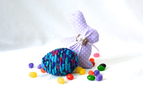 Modern Easter Egg, Handmade Easter Decoration, Basket Filler, Violet Easter Egg, Fun Easter Egg Hunt Egg, Bowl Filler, Coiled Art Egg