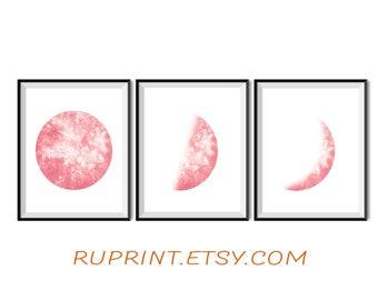 Moon set, Watercolor print art, Moon phases print, Printable wall art, Art set of 3, Pink art, Moon art
