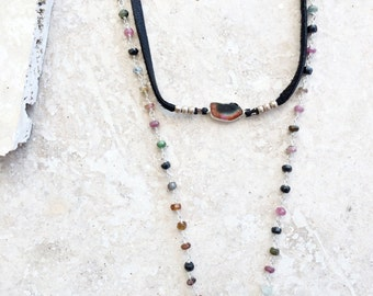 Spectrum Traveller necklace (1) - wrap with a multi-colored tourmaline focal bead, colorful tourmaline chain and long black leather tassels
