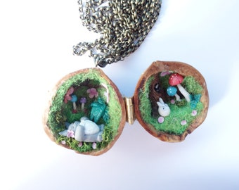 Totoro in a nut necklace jewelry