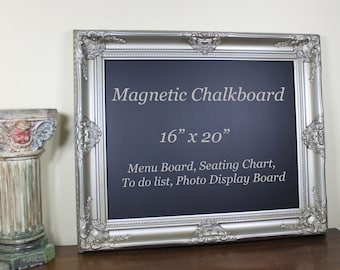 Framed Chalkboard Wedding Chalkboard Sign, Kitchen Chalkboard, Magnetic Restaurant Menu Board, Black Board Housewarming Gift, 16x20