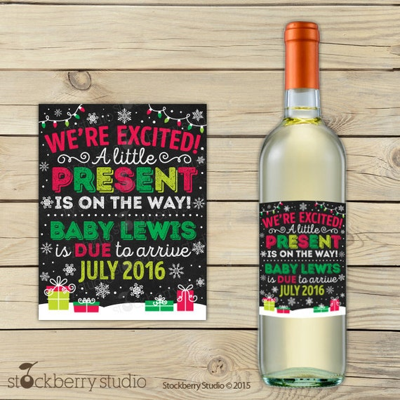 Printable Wine Bottle Labels: Items Similar To Christmas Wine Label Pregnancy