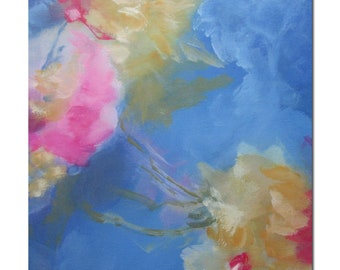 Original Expressionism Abstract Painting Modern art blue yellow pink. Caprice