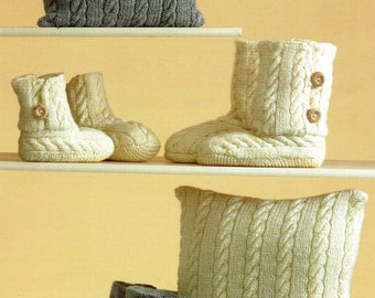 PDF Knitting Pattern for Cabled Cushions and Knitted Slippers   - Instant Download