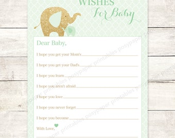wishes for baby shower printable elephants mint green gold glitter DIY baby gender neutral shower games - INSTANT DOWNLOAD