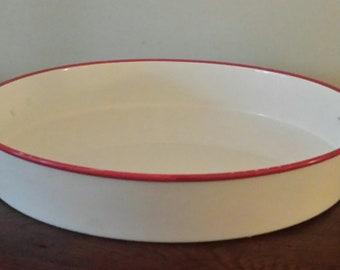 Vintage Enamel Paella Pan, White with Red