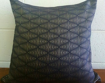 Silk Blend Art Deco Black and Gold Inspired Design Exclusive Cushion Pillow Cover by Peacock and Penny. 50cms x 50cms