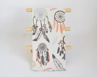 Tea Towel, Multi-Use Towel, Kitchen Bath Gym, Dream Catcher Print Cotton Screen Printed Towel, Blacktop
