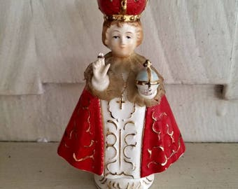 Infant of Prague statue....real lace accents....handpainted....gold embellishments.
