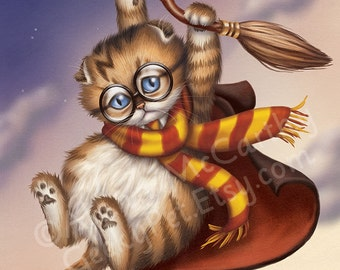Harry Potter Kitten - This little wizard in training is being taken for a ride on his Nimbus 2000 broom
