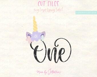 One svg, first birthday svg, 1st birthday svg, 1st svg, one year svg, unicorn svg, one unicorn svg, one year cut file, girl birthday svg