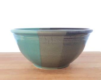 "Mixing Bowl Large 9"" Handmade-- Slate Gray Aqua Blue Hand made stoneware ceramic serving mixing bowl - large ceramic blue mixing bowl"
