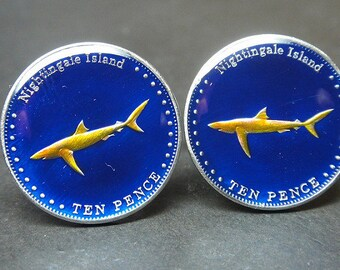 Cufflinks  UK British Overseas Territory of Nightingale  , Tristan da Cunha  Blue shark 22mm.