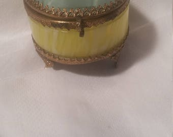 Vintage European Glass Trinket Casket Jewelry Box Beveled