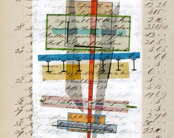 Page 165: original mixed media artwork on antique ledger page abstract modern art home decor
