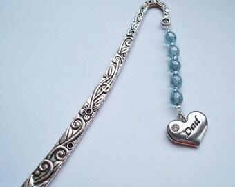 "Pale Blue ""Dad"" Bookmark, Handmade Dad Bookmark; optional gift box; UK Seller"