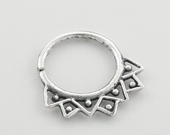 Silver Septum Ring for pierced nose. nose jewelry. septum piercing. silver septum ring. tribal septum. silver septum. septum jewelry.