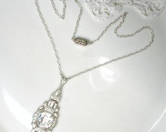 1920s Edwardian French Paste Necklace, Vintage Art Deco Pendant/Lavalier Pave Rhinestone Bridal Necklace, Silver Great Gatsby 1920s Wedding