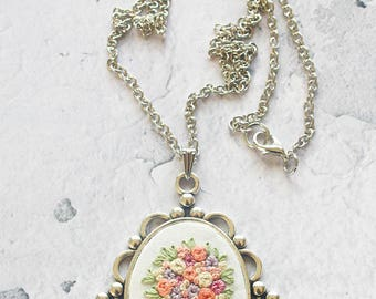 Vintage Inspired Hand Embroidered Necklace | Embroidered Flower Necklace | Mother's Day Birthday Bridesmaid Anniversary Gift | Fiber Art