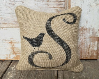 Bird Letter Custom Monogram -  Burlap Feed Sack Doorstop - Letter Door Stop