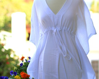Mini Caftan Dress - Beach Cover Up Kaftan in White Cotton Gauze - Lots of Colors