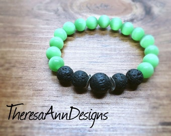 Green Cat's Eye and Lava Stone Diffuser Bracelet, Cat's Eye Bracelet, Lava Bracelet, Yoga Jewelry, Stretch Bracelet, Christmas Gift