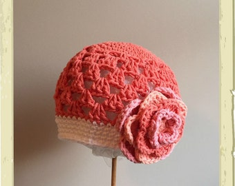 Beanie Hat Crocheted RTS 2-4 yrs Persimmon, White, Mango Open Weave Style