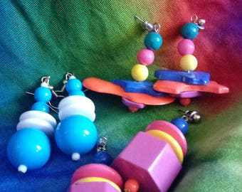 1980s Funky Earring Lot-3 pairs