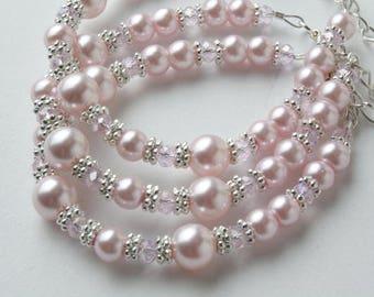 Pink Flower girl bracelet - Junior Bridesmaid bracelet - Wedding pearls and crystals bracelet - Pink crystal bracelet -  Flower girl gift