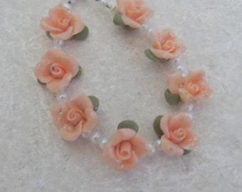 Bracelet,Handmade,Flowers,Floral,Peach,Cold Porcelain,Gift
