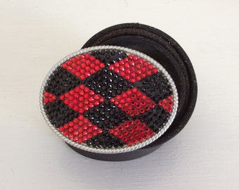 Red and Black Team Colors Crystal Bling Belt Buckle UGA Atlanta Falcons Inspired