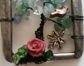 Vintage belt buckle tree of life pendant
