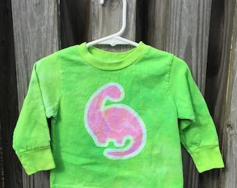 Pink Dinosaur Shirt, Kids Dinosaur Shirt, Green Dinosaur Shirt, Boys Dinosaur Shirt, Girls Dinosaur Shirt, Long Sleeves (18 months) SALE