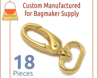 3/4 Inch Shiny Gold Oval Gate Swivel Snap Hook, 18 Piece Pack, Purse Clips, Handbag Bag Making Hardware Supplies, SNP-AA148
