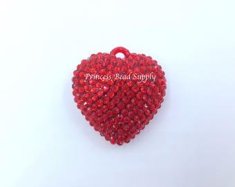 Red Rhinestone Heart Pendant for Chunky Necklaces,  42mm Valentine's Day Pendant, Chunky Necklace Pendant