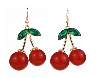 Large Cherry Earrings, Red Retro Fruit Jewelry, 1950's Kitsch, Rockabilly, Carmen Miranda, Burlesque, Pinup, Acrylic Rhinestones, Cherries