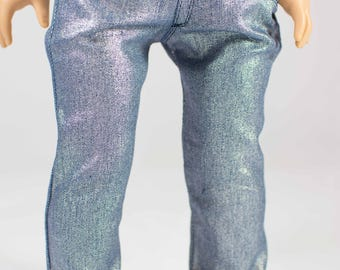 Last Pair! American Girl or 18 Inch Doll JEANS Pants in Silver Blue Stretch Denim with Four Working Pockets and Stitching Details