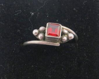 Delicate Garnet Ring / Garnet Stacking Ring/ Silver Sterling Garnet Ring- January Birthstone- size 6.75- 7