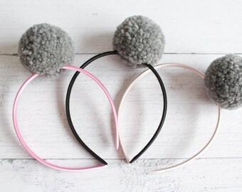 Headband with soft pompom in grey wool-MammaMiki