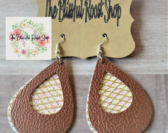 Leather Earrings Layered in Copper and Mermaid