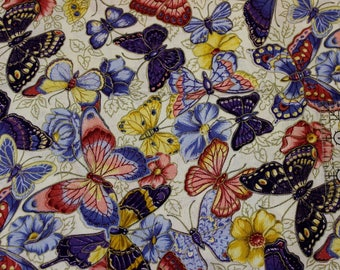 """Butterflies on cream with gold accents Purple Lavender Rose Yellow by Joan Messmore  100% cotton fabric  42""""-44"""" wide Cranston print works"""