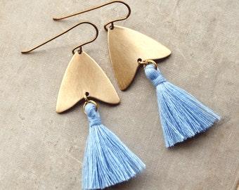 Tassel Earrings, Light Blue Tassel Earrings, Natural Brass Tassel Earrings, Arrowhead, Arrow Earrings