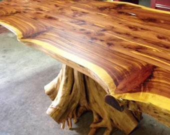 Stump Table, Rustic Table, Live Edge Table, Cedar Table, Dining Table. 6' table.
