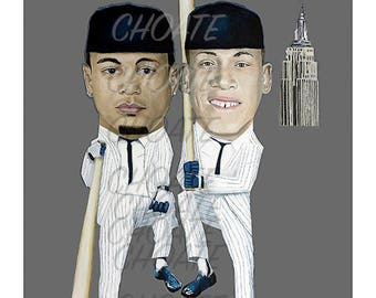 New York Yankees, Giancarlo Stanton and Aaron Judge. Photo print from an original painting.