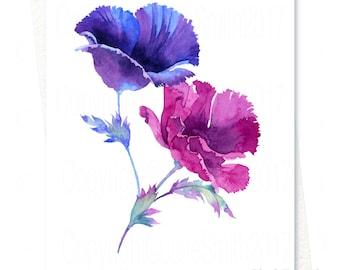Watercolour Flower Art Card POPPIES PAPAVER ORIENTALE, Handmade Original Watercolour Painting, Printed Personalised Blank Greeting Card