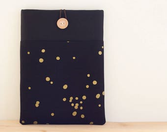 New Surface 3 iPad Air case, Custom 10 inch Tablet sleeve, Kindle fire HD 8.9, Nexus 10, Surface, Galaxy, eReader / Gold dots in Black