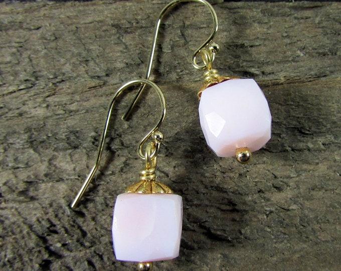 Pink Opal & Gold Drop Earrings, Simple Gemstone Earring
