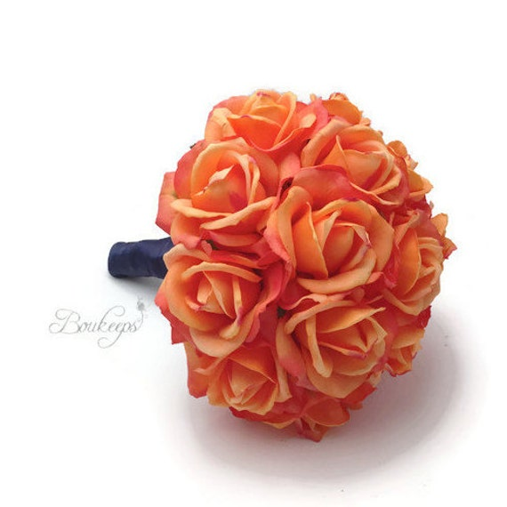 CHOOSE RIBBON COLOR Coral Rose Bouquet Coral Bridal