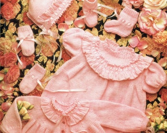 Original Baby Knitting Pattern Jarol E797 Baby Girl Dress Yoke Matinee Bonnet Frilly Victorian style Heirloom Baby Doll Bootees Mittens PINK