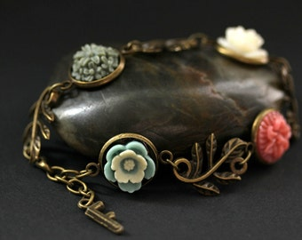 Bronze Leaf Bracelet. Flower Bracelet with Leaf Charms. Colorful Flower Bracelet with Personalized Letter Charm. Handmade Bracelet.